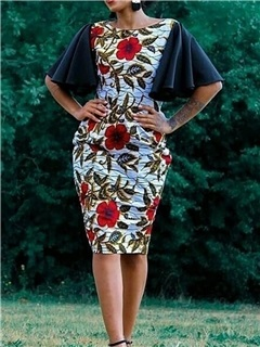 Round Neck Half Sleeve  Floral Women's Bodycon Dress 5