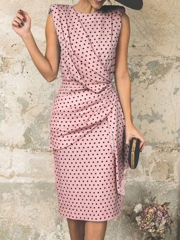 Knee-Length Sleeveless Polka Dots Polyester Womens Bodycon Dress