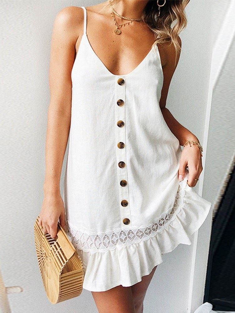 Button Mid-Calf Sleeveless Spaghetti Strap Womens A-Line Dress