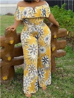 Print Date Night Floral Straight High Waist Women's Jumpsuit 5