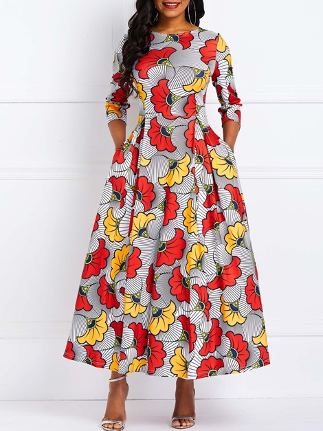 Ankle-Length Print Pullover Plant Color Block Women's Maxi Dress