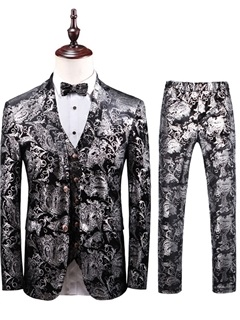 3 Pieces Floral Blazer Vest Pants Men's Dress Suit 5