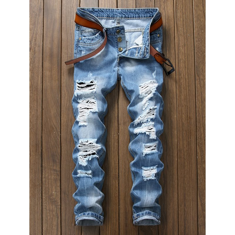 Worn Hole Plain Zipper Mens Ripped Jeans