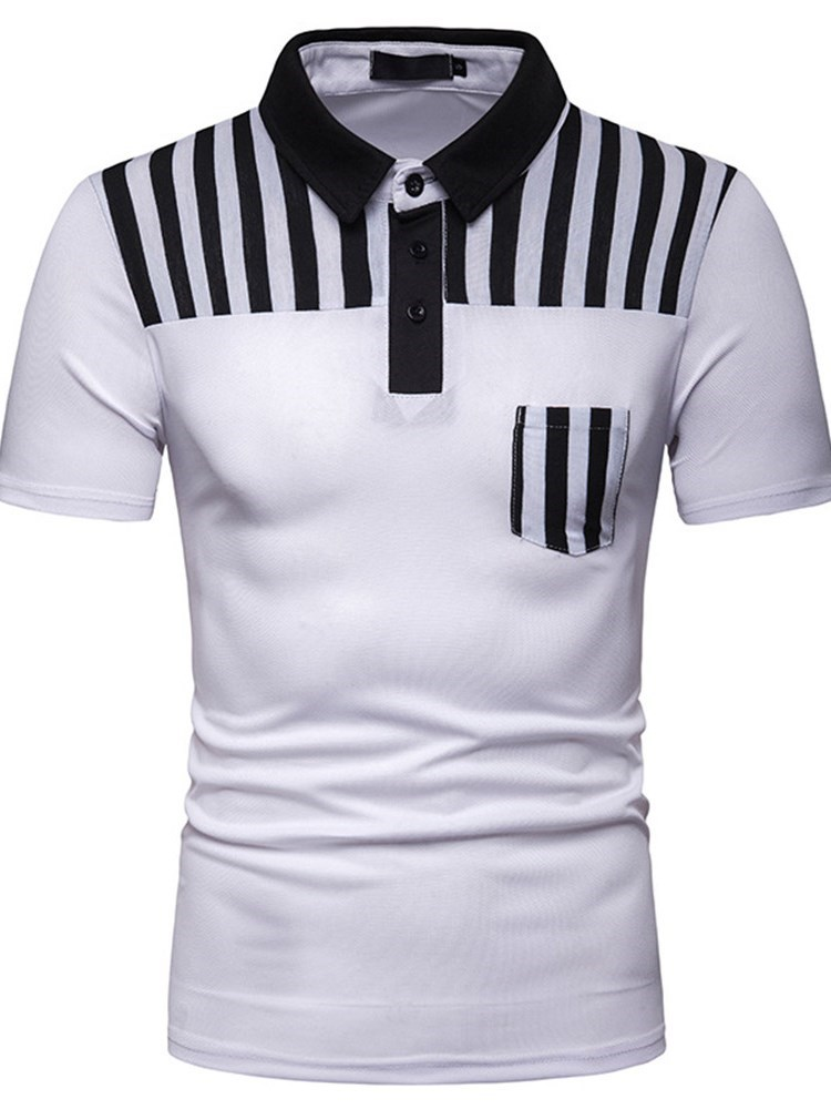 Color Block Casual Stripe Mens Polo Shirt