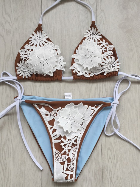 Lace-Up Sexy Lace Bikini Set Swimwear