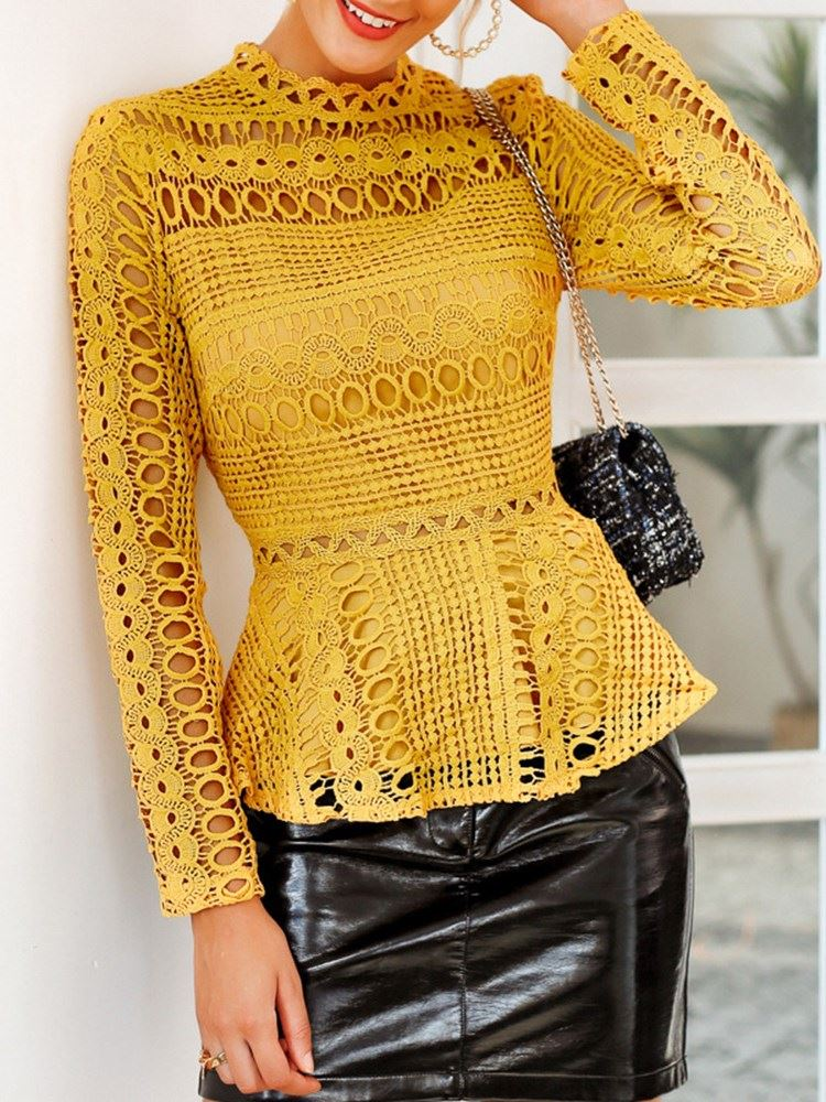 Stand Collar Lace Plain Long Sleeve Hollow Womens Blouse