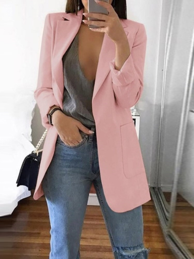 Long Sleeve Notched Lapel Plain Mid-Length Womens Casual Blazer