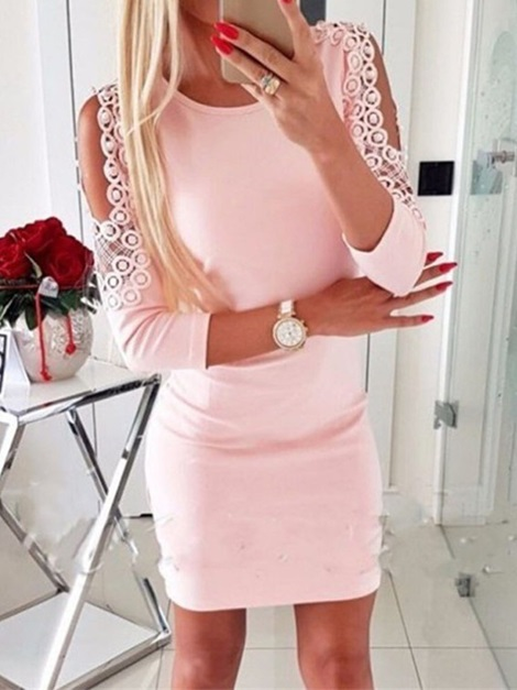 Above Knee Hollow Nine Points Sleeve Pullover Women's Bodycon Dress