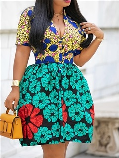 Knee-Length V-Neck African Fashion Pullover Women's A-Line Dress