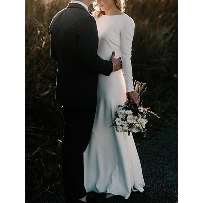 Long Sleeves Bateau Neck Button Country Wedding Dress 2019 фото