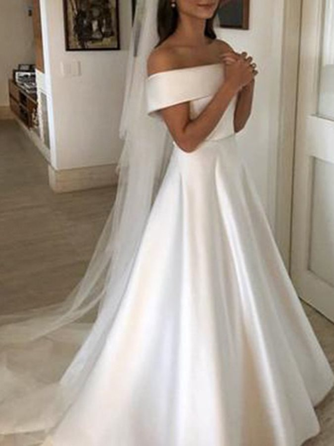 Bowknot Off-The-Shoulder Button Wedding Dress 2019