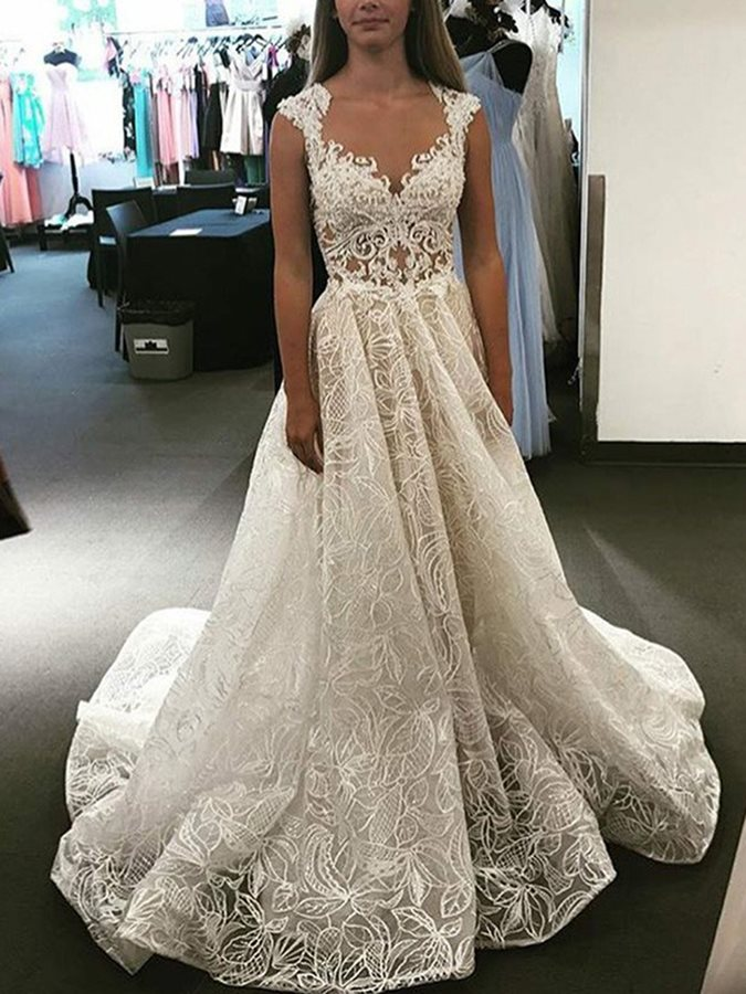 Straps A-Line Appliques Lace Wedding Dress 2019