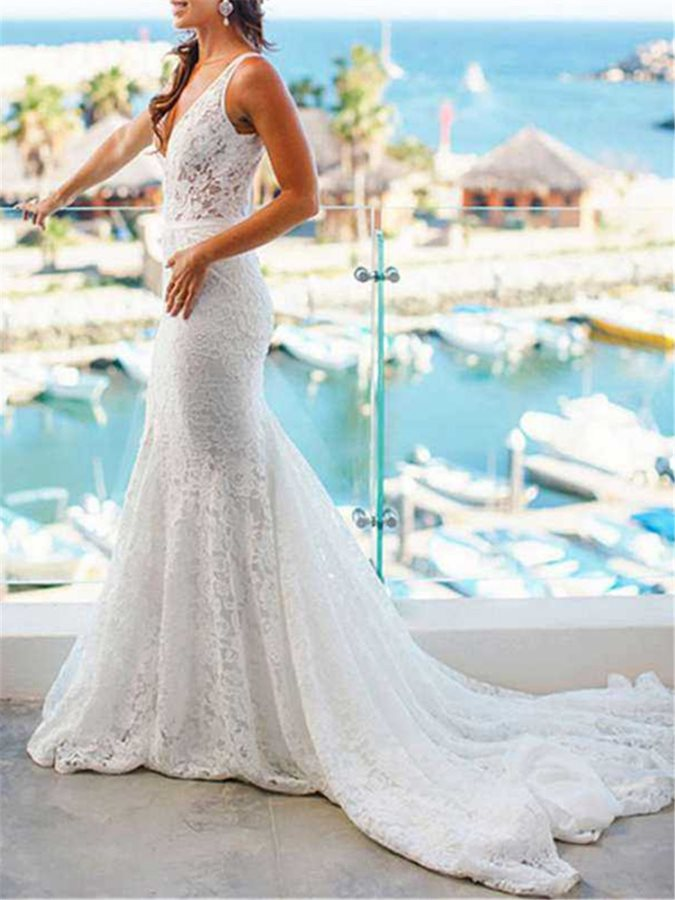 V-Neck Mermaid Appliques Lace Wedding Dress 2019
