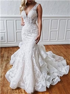 Cascading Ruffles Appliques Mermaid Wedding Dress 2019 10