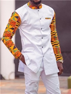 African Fashion Dashiki Print Patchwork Shirt Pants Men's Suit 5