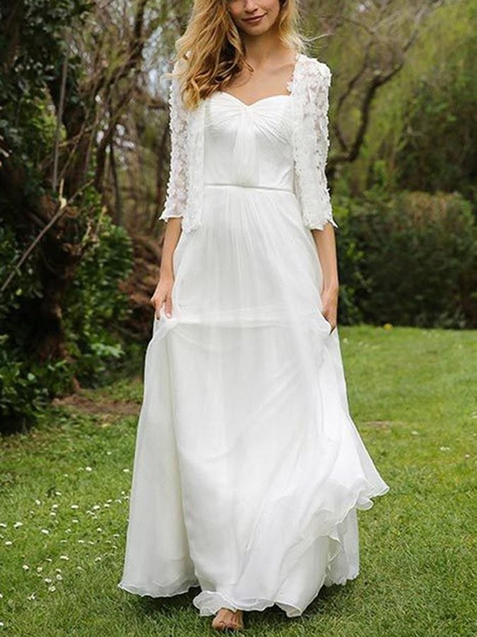 Lace Sweetheart Neckline Outdoor Wedding Dress with Jacket