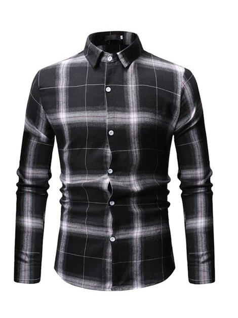 Lapel Color Block Plaid Single-Breasted Men's Shirt