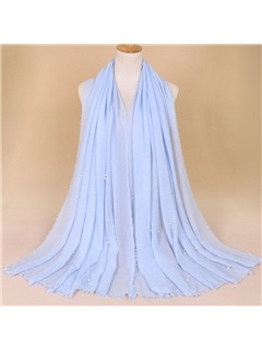Solid Color Pearl Decorated Cotton Scarf  1