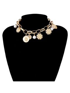Vintage Imitation Pearl Gold Coin Choker Necklace