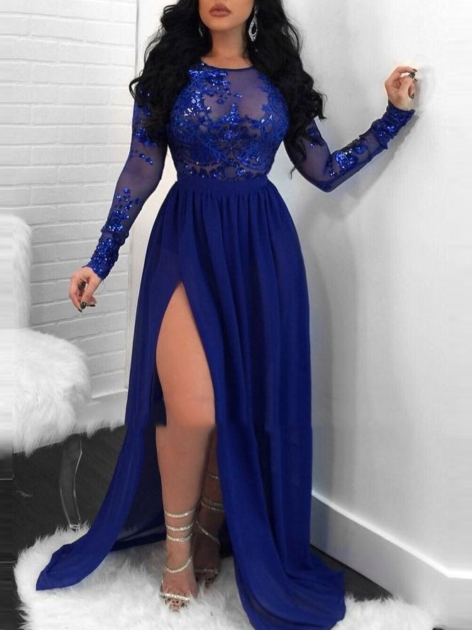 Sexy Sequins Appliques Long Sleeves Evening Dress 2019