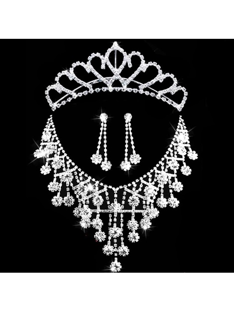 Diamante Tiara Floral Jewelry Sets (Wedding)