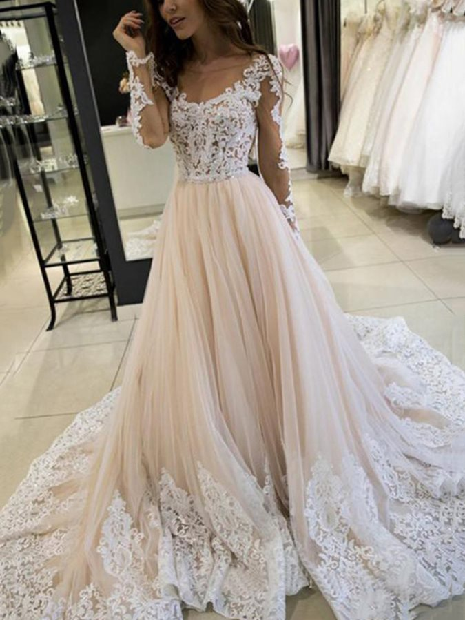 Long Sleeves Scoop Floor-Length Appliques Hall Wedding Dress 2019
