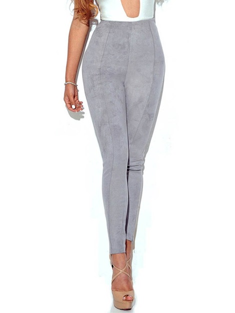 Skinny Plain High Waist Suede Women's Casual Pants
