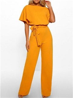 Bowknot Plain Loose Straight Short Sleeve Women's Jumpsuit 5