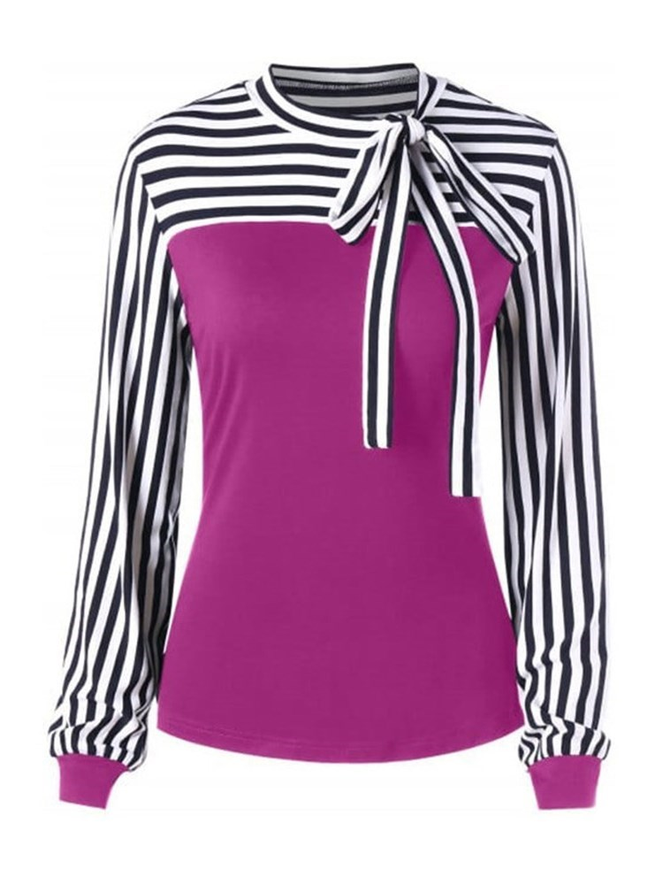 Long Sleeve Stripe Bowknot Casual Slim Womens T-Shirt