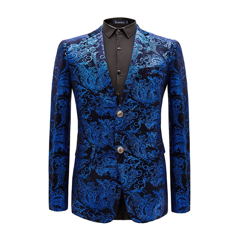 Floral Notched Lapel Two Buttons Mens Blazer фото