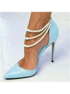 Pointed Toe Elastic Band Beads Pumps 7