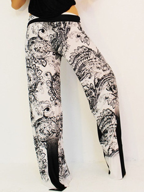 Floral Loose High Waist Wide Legs Women's Casual Pants