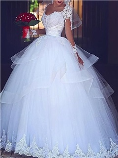 Long Sleeves Appliques Ball Gown Wedding Dress 2019