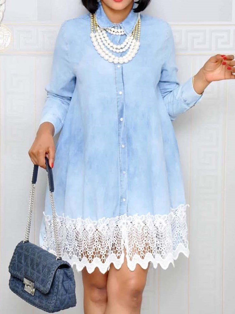 Knee-Length Lapel Long Sleeve Lace Womens Shift Dress