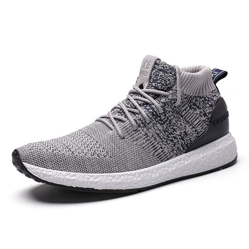 Mid-Cut Upper Lace-Up Mesh Breathable Mens Sneakers фото