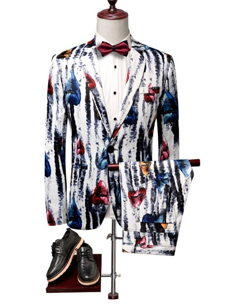Fashion Print One Button Blazer Pants Men's Dress Suit