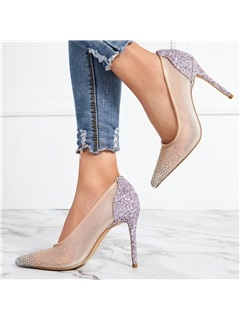 Stiletto Heel Rhinestone Pointed Toe Prom Shoes 8