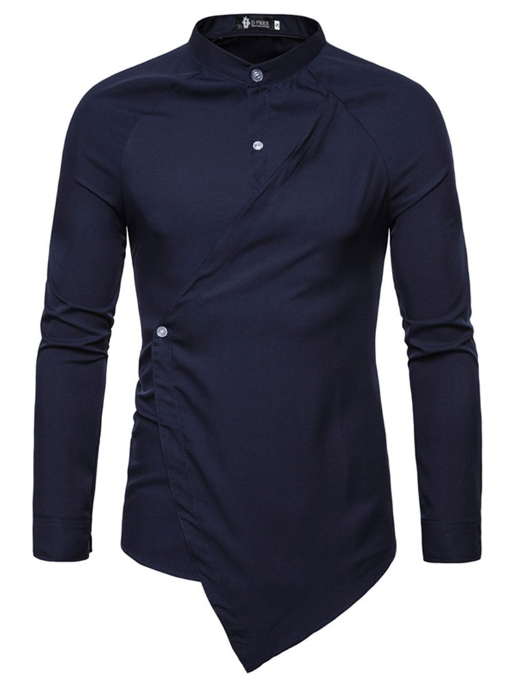 Stand Collar Plain Button Mens Shirt