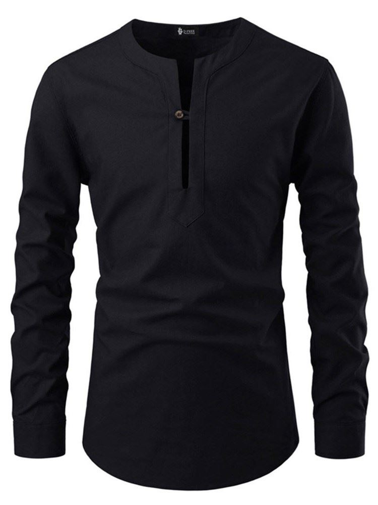 Plain Button Slim Mens Collarless Shirt