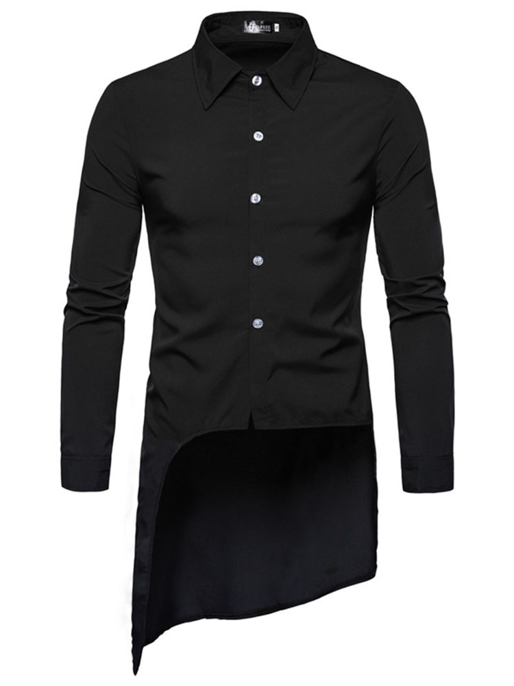Asymmetric Lapel Plain Button Slim Mens Shirt