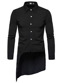 Asymmetric Lapel Plain Button Slim Men's Shirt 5