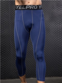 Letter Mid-Calf Compression Sports Men's Leggings 5