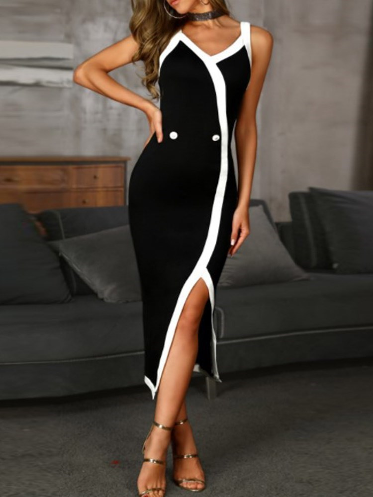 Mid-Calf V-Neck Split Spaghetti Strap Womens Bodycon Dress