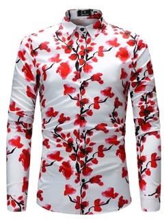 Floral Lapel Print Slim Fit Men's Shirt 6