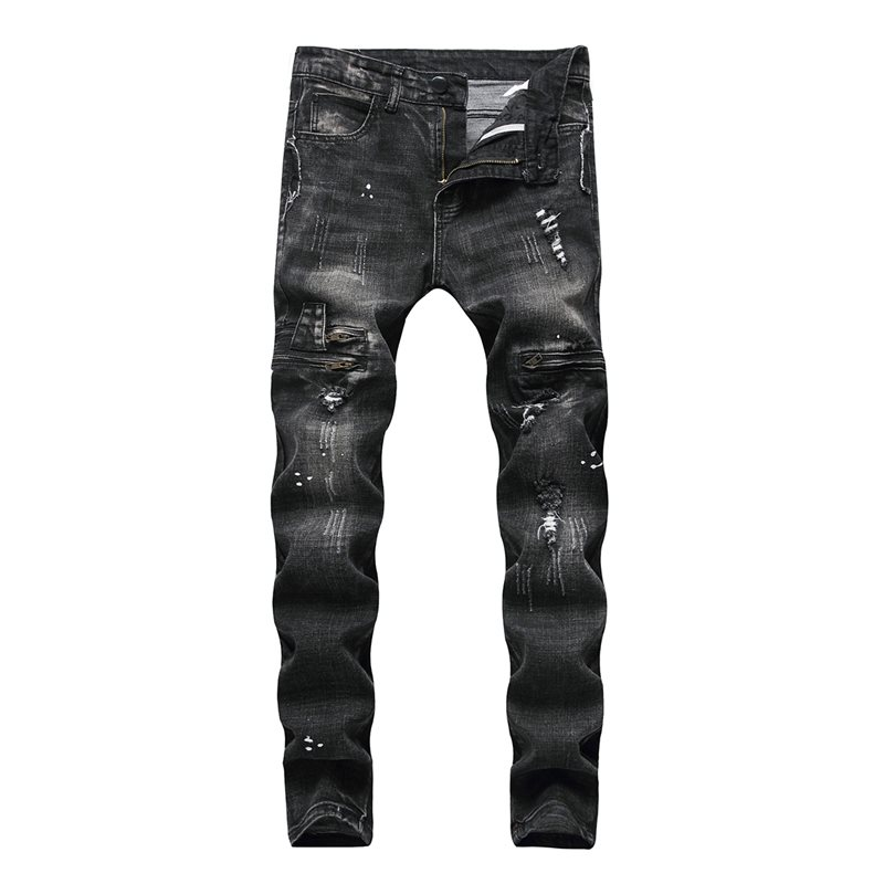 Worn Hole Plain Mens Ripped Jeans фото
