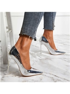 Metallic Pointed Toe Slip-On Women's Pumps 2