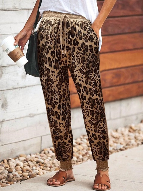 Color Block Print Loose Full Length Women's Casual Pants