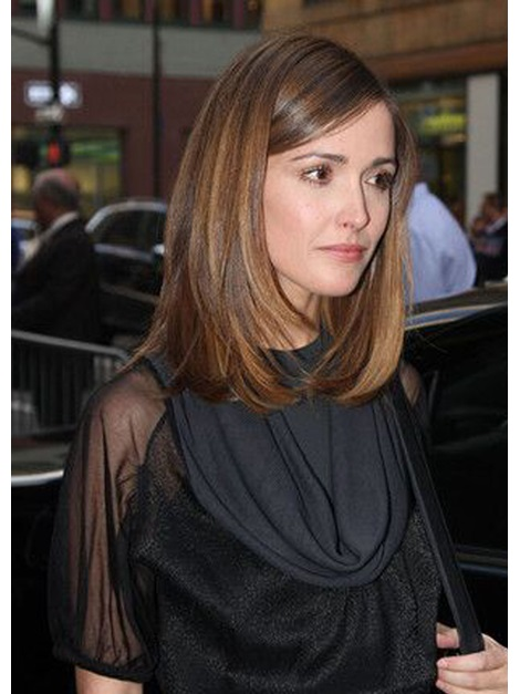 Rose Byrne HairStyle Medium Straight Haircut Synthetic Hair Lace Front Wigs 16 Inches