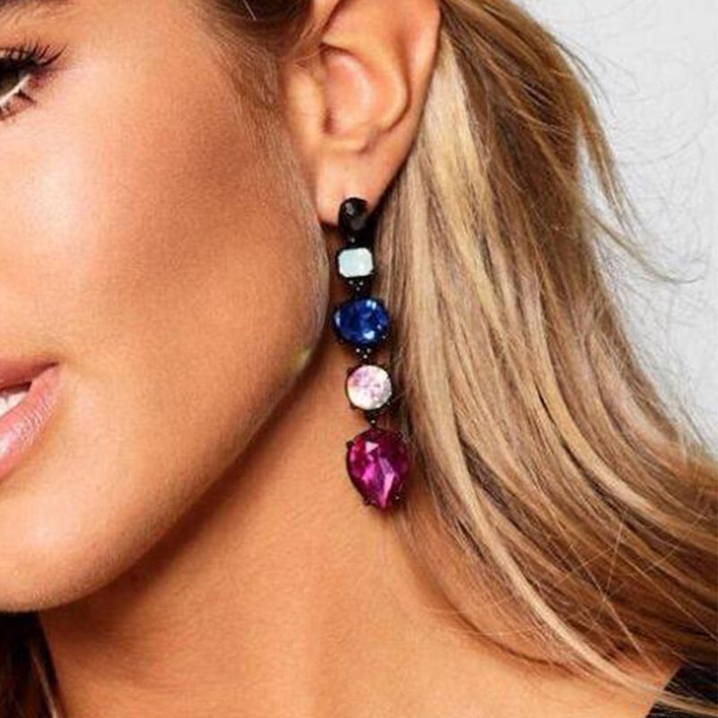 Newly Candy Color Diamante Geometric Drop Earrings