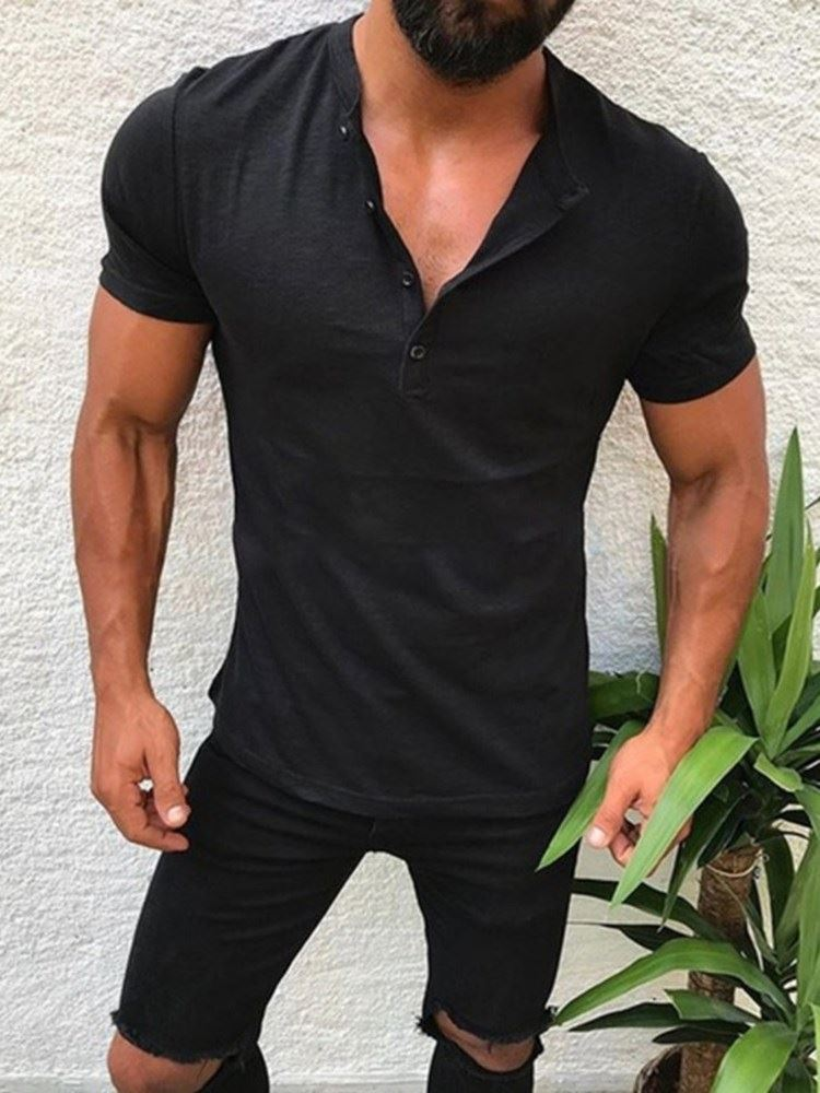 Plain Casual Button Short Sleeve Slim Fit Mens T-Shirt